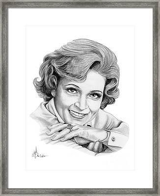 Betty White Framed Print by Murphy Elliott