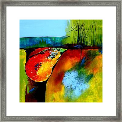 Between A Pear And A Rock Framed Print by Jane Robinson