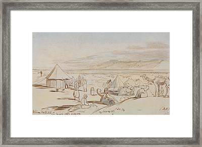 Between Bir El Abt Framed Print by Edward Lear