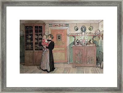 Between Christmas And New Year Framed Print by Carl Larsson