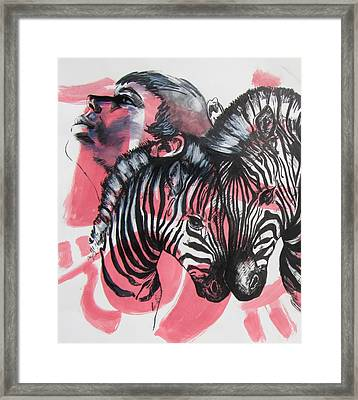 Between Stripes Framed Print
