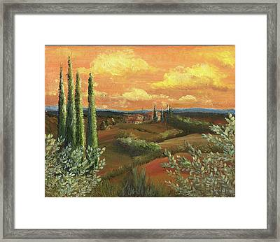 Between The Olive Trees Framed Print by Leah Wiedemer