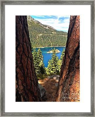 Between The Pines Framed Print by Krissy Katsimbras