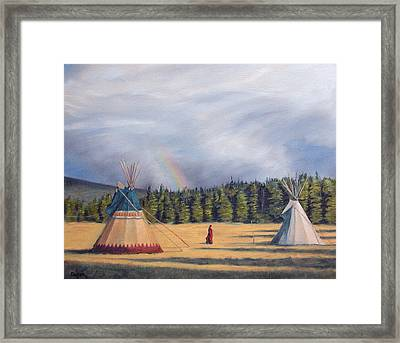 Between Two Lodges Framed Print