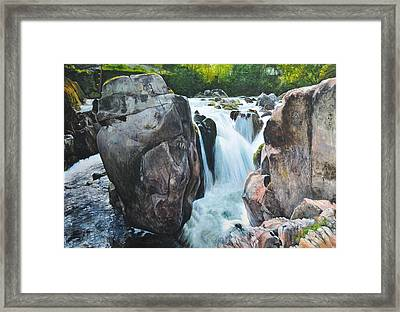 Framed Print featuring the painting Betws-y-coed Waterfall In North Wales by Harry Robertson