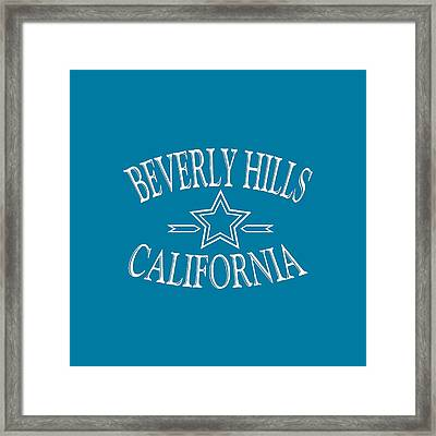 Beverly Hills California - Tshirt Design Framed Print by Art America Gallery Peter Potter