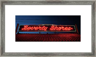 Beverly Shores Indiana Depot Neon Sign Panorama Framed Print