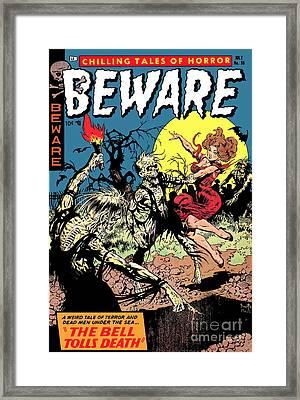 Beware 1950s Horror Comic Book Cover  Framed Print