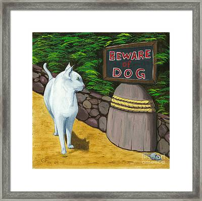 Framed Print featuring the painting Beware Of Dog by Gail Finn
