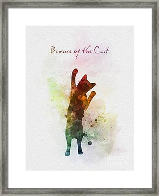 Beware Of The Cat Framed Print