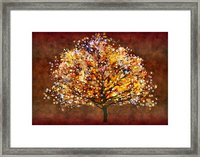 Framed Print featuring the painting Starry Tree by Valerie Anne Kelly