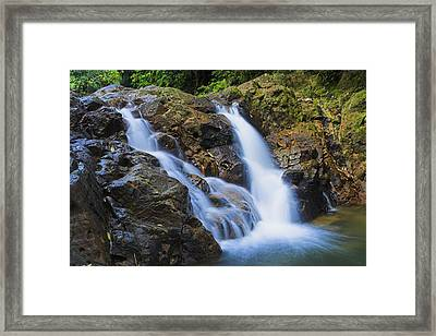 Bexon Waterfall In Color- St Lucia  Framed Print