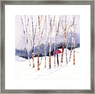 Beyond The Birch Thicket Framed Print