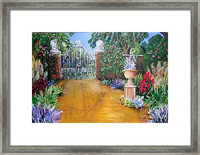 Framed Print featuring the painting Beyond The Gate by Saundra Johnson