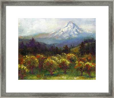 Beyond The Orchards Framed Print by Talya Johnson