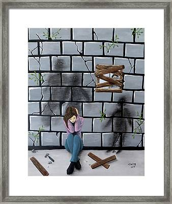 Framed Print featuring the painting Beyond The Wall by Teresa Wing
