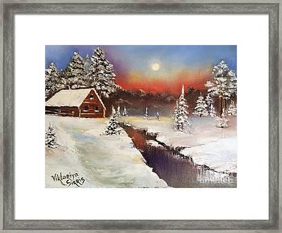 Beyond Winter River Framed Print