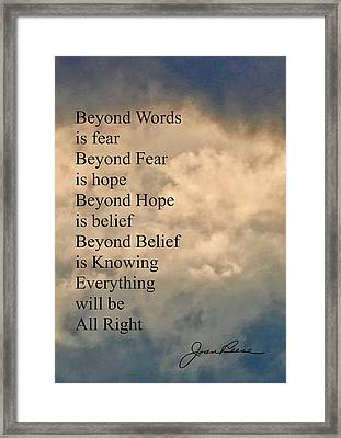 Framed Print featuring the painting Beyond Words by Joan Reese