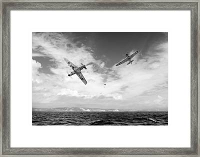 Framed Print featuring the photograph Bf109 Down In The Channel Bw Version by Gary Eason