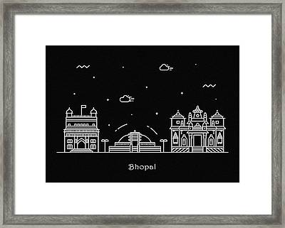 Bhopal Skyline Travel Poster Framed Print