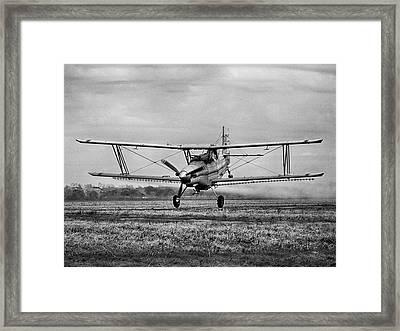 Bi-winged Crop Duster B N W Framed Print