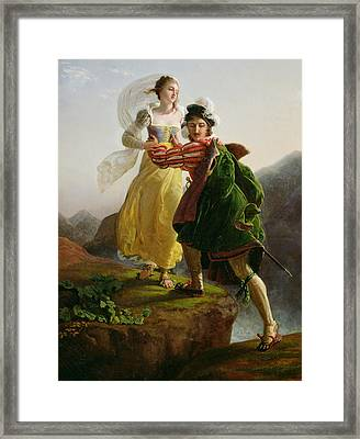 Bianca Cappello Fleeing With Her Lover Francesco De Medici Framed Print by Louis Ducis
