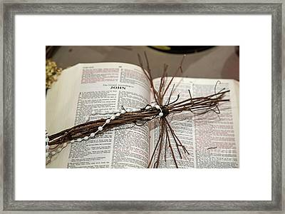 Bible And Cross Framed Print
