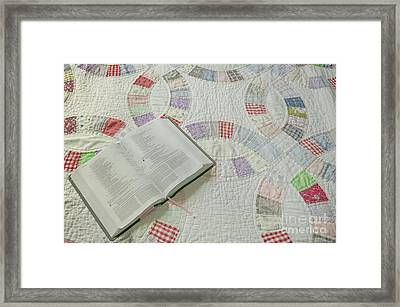 Bible On Quilt Framed Print
