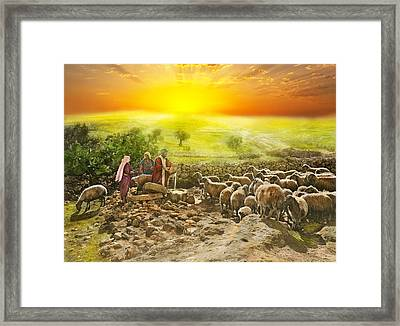 Bible - Psalm 23 - My Cup Runneth Over 1920 Framed Print by Mike Savad