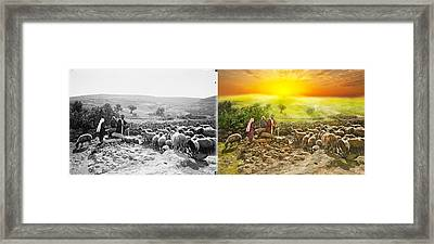 Bible - Psalm 23 - My Cup Runneth Over 1920 - Side By Side Framed Print by Mike Savad