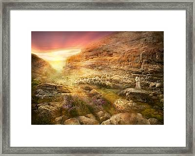 Bible - Psalm 23 - Yea, Though I Walk Through The Valley 1920 Framed Print by Mike Savad
