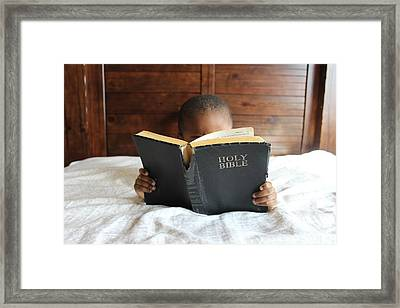 Bible Reading Boy Framed Print by Cco