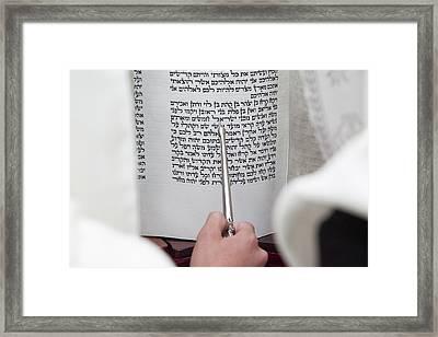 Bible Reading Framed Print by Yoel Koskas