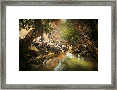 Bible - The Lord Is My Shepherd - 1910 Framed Print by Mike Savad