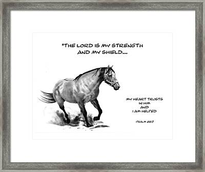 Bible Verse With Drawing Of Horse Framed Print by Joyce Geleynse