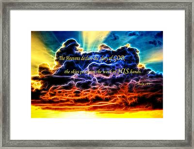 Framed Print featuring the photograph Biblical Electrified Cumulus Clouds Skyscape - Psalm 19 1 by Shelley Neff