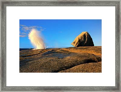 Bicheno Blowhole Framed Print by Mike  Dawson
