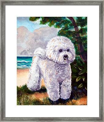 Bichon Frise Beach Babe Framed Print