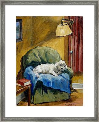 Bichon Frise On Chair Framed Print