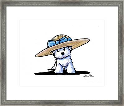 Bichon In Hat Framed Print