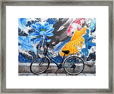 Bicycle Against Mural Framed Print by Joe Bonita