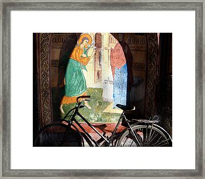 Bicycle And Mural Framed Print by Todd Fox