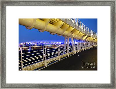 Framed Print featuring the photograph Bicycle And Pedestrian Overpass by Yali Shi