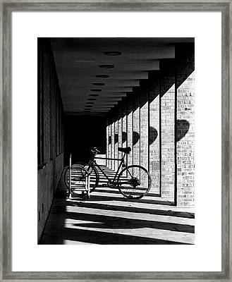 Bicycle And Shadows Framed Print by George Morgan