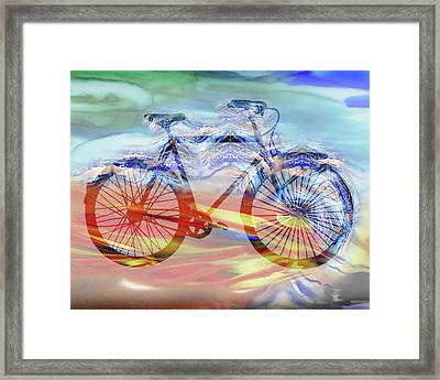 Bicycle And Speed Watercolor Silhouette Framed Print