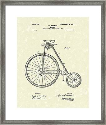 Bicycle Anderson 1899 Patent Art Framed Print by Prior Art Design