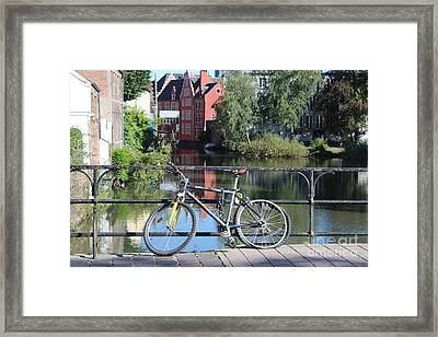 Bicycle By Canal In Belgium Framed Print