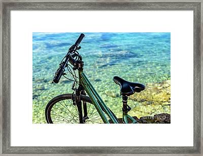 Bicycle By The Adriatic, Rovinj, Istria, Croatia Framed Print