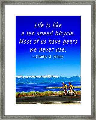 Bicycle Charles M Schulz Quote Framed Print