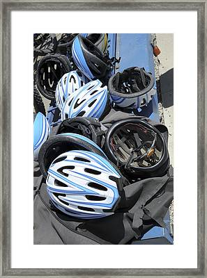 Bicycle Helmets Framed Print by Photostock-israel